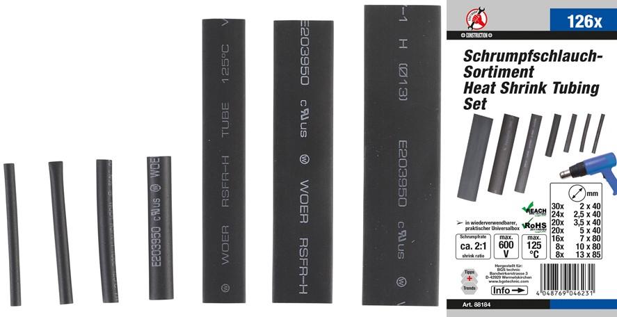 Krympslang-sortiment   svart   126 delar
